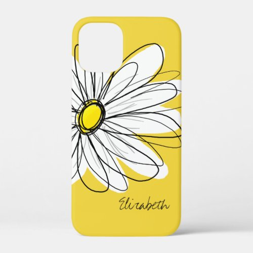Trendy Daisy Floral Illustration - blackand yellow iPhone 12 Mini Case