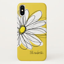 Trendy Daisy Floral Illustration - blackand yellow iPhone X Case
