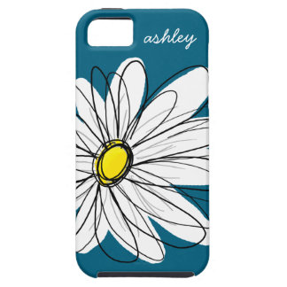 Trendy Daisy Floral Illustration - blue and yellow iPhone 5 Cover