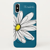 Trendy Daisy Floral Illustration - blue and yellow iPhone X Case