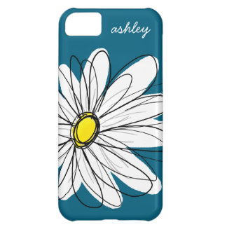 Trendy Daisy Floral Illustration - blue and yellow iPhone 5C Covers