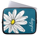 Trendy Daisy Floral Illustration - blue and yellow Computer Sleeve