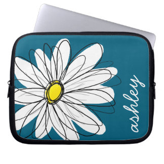 Trendy Daisy Floral Illustration - blue and yellow Laptop Computer Sleeves