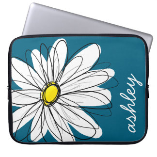 Trendy Daisy Floral Illustration - blue and yellow Laptop Sleeve