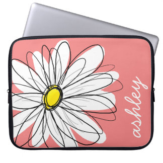 Trendy Daisy Floral Illustration - coral & yellow Computer Sleeve