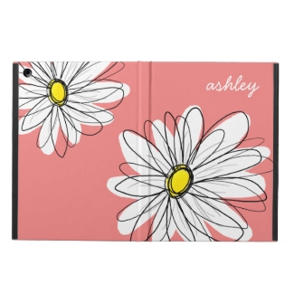 Trendy Daisy Floral Illustration - coral & yellow