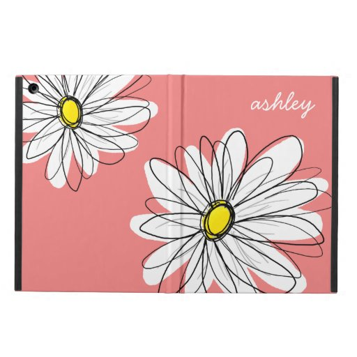 Trendy Daisy Floral Illustration - coral & yellow iPad Air Cover
