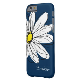 Trendy Daisy Floral Illustration Custom name Barely There iPhone 6 Case