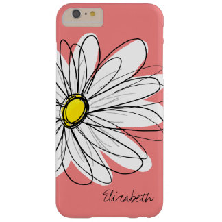Trendy Daisy Floral Illustration Custom name Barely There iPhone 6 Plus Case