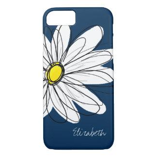 Trendy Daisy Floral Illustration Custom name iPhone 7 Case