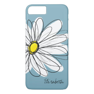 Trendy Daisy Floral Illustration Custom name iPhone 7 Plus Case