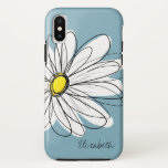 "Trendy Daisy Floral Illustration Custom name iPhone XS Case<br><div class=""desc"">A zen and whimsical,  hipster cover.</div>"