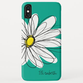 Trendy Daisy Floral Illustration Custom name iPhone XS Max Case