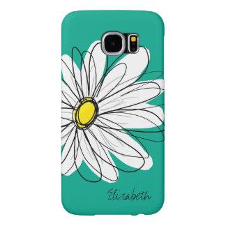 Trendy Daisy Floral Illustration Custom name Samsung Galaxy S6 Cases