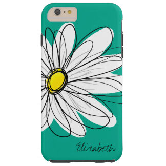 Trendy Daisy Floral Illustration Custom name Tough iPhone 6 Plus Case