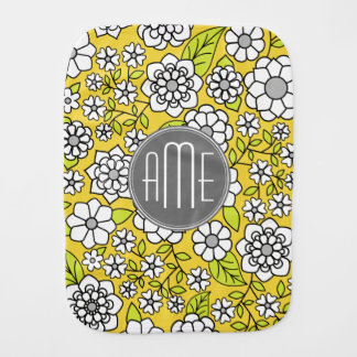 Trendy Daisy Floral Illustration - gray and yellow Burp Cloth
