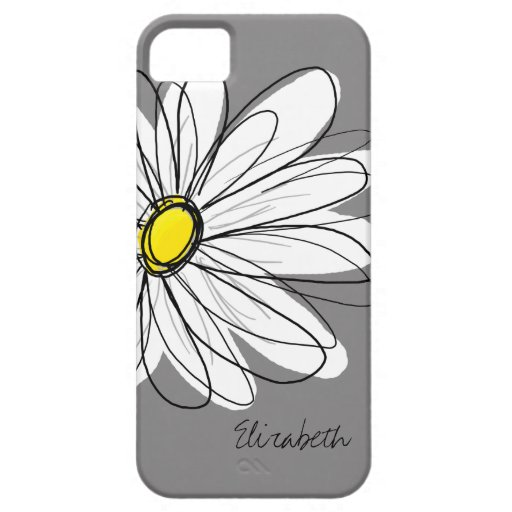 Trendy Daisy Floral Illustration - gray and yellow iPhone 5 Covers