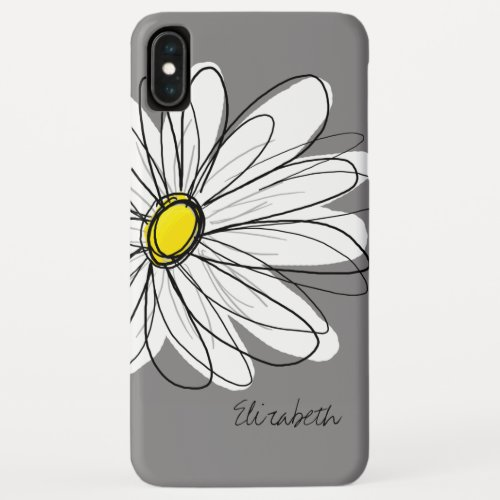Trendy Daisy Floral Illustration - gray and yellow Phone Case