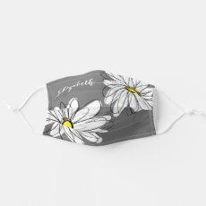 Trendy Daisy Floral Illustration - gray and yellow Cloth Face Mask