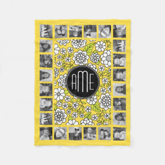 Trendy Daisy Floral Illustration - gray and yellow Fleece Blanket