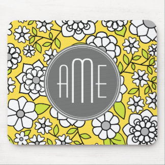 Trendy Daisy Floral Illustration - gray and yellow Mouse Pad
