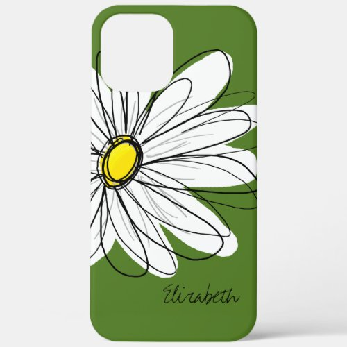 Trendy Daisy Floral Illustration - green yellow Phone Case