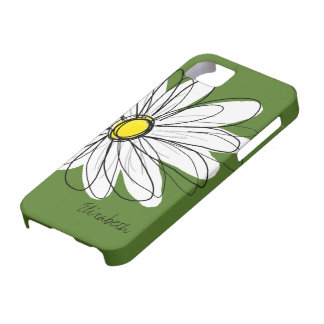 Trendy Daisy Floral Illustration - green yellow iPhone 5 Cases
