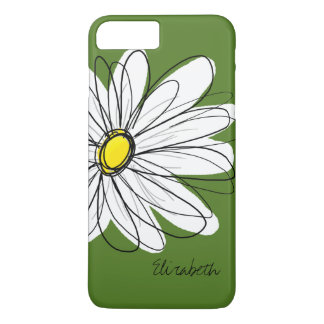 Trendy Daisy Floral Illustration - green yellow iPhone 8 Plus/7 Plus Case