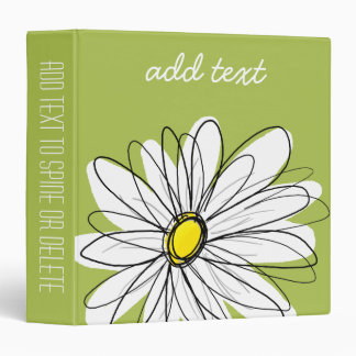 Trendy Daisy Floral Illustration - lime and yellow 3 Ring Binder