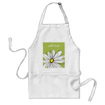 Trendy Daisy Floral Illustration - lime and yellow Adult Apron