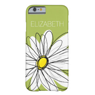 Trendy Daisy Floral Illustration - lime and yellow Barely There iPhone 6 Case