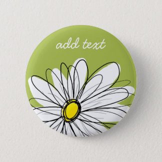 Trendy Daisy Floral Illustration - lime and yellow Button
