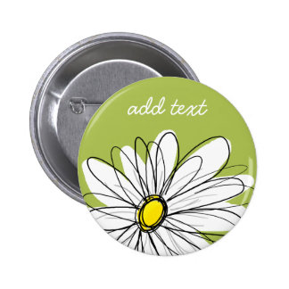 Trendy Daisy Floral Illustration - lime and yellow 2 Inch Round Button