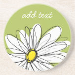 Trendy Daisy Floral Illustration - lime and yellow Coaster
