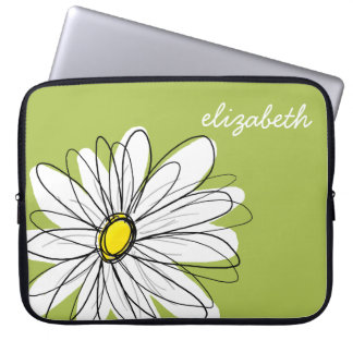Trendy Daisy Floral Illustration - lime and yellow Computer Sleeve