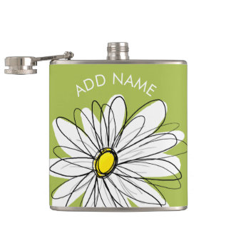 Trendy Daisy Floral Illustration - lime and yellow Flasks