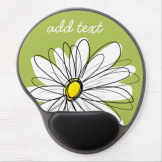 Trendy Daisy Floral Illustration - lime and yellow Gel Mouse Pad
