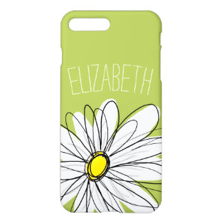 Trendy Daisy Floral Illustration - lime and yellow iPhone 8 Plus/7 Plus Case