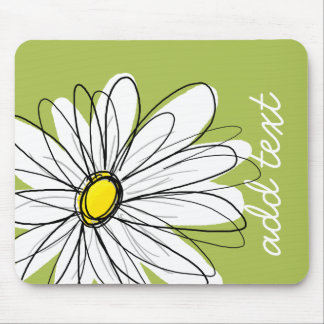 Trendy Daisy Floral Illustration - lime and yellow Mouse Pad