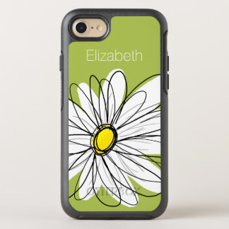 Trendy Daisy Floral Illustration - lime and yellow OtterBox Symmetry iPhone 7 Case