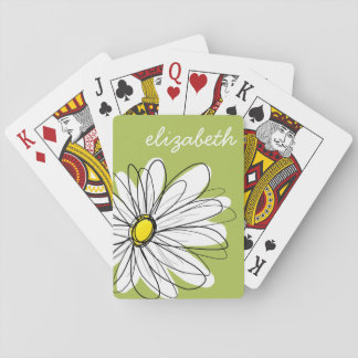 Trendy Daisy Floral Illustration - lime and yellow Playing Cards