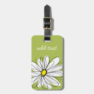 Trendy Daisy Floral Illustration - lime and yellow Tag For Luggage