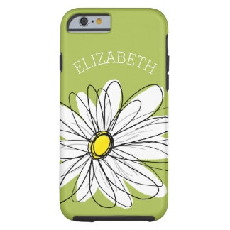 Trendy Daisy Floral Illustration - lime and yellow Tough iPhone 6 Case