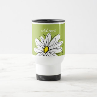 Trendy Daisy Floral Illustration - lime and yellow Travel Mug