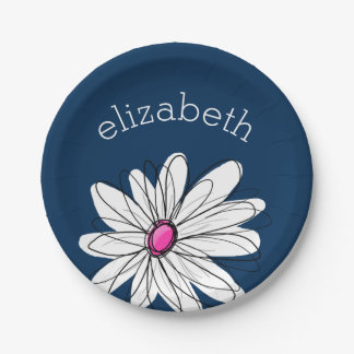 Trendy Daisy Floral Illustration - navy and pink 7 Inch Paper Plate