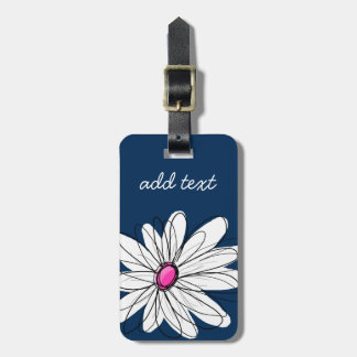 Trendy Daisy Floral Illustration - navy and pink Bag Tag