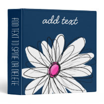 Trendy Daisy Floral Illustration - navy and pink Binder