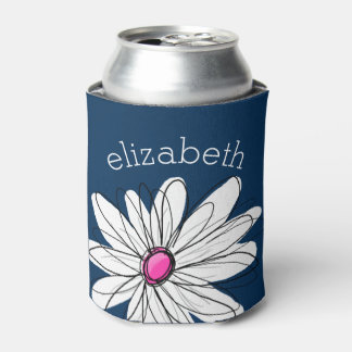 Trendy Daisy Floral Illustration - navy and pink Can Cooler