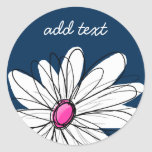 Trendy Daisy Floral Illustration - navy and pink Classic Round Sticker