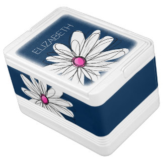 Trendy Daisy Floral Illustration - navy and pink Cooler